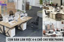3 cụm bàn làm việc 4 - 6 chỗ ngồi cho văn phòng 80m2